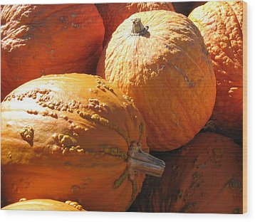 Wood Print featuring the photograph Pumpkin Shadows by Cindy Plutnicki