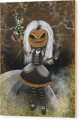 Pumpkin Spice Latte Monster Fantasy Art Wood Print