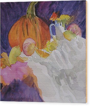 Wood Print featuring the painting Pumpkin Still Life by Beverley Harper Tinsley