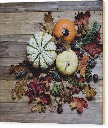 Wood Print featuring the photograph Pumpkins And Leaves by Rebecca Cozart