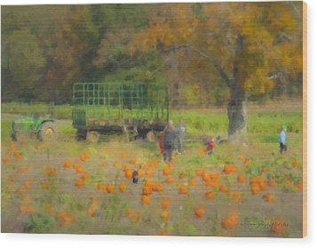 Pumpkins At Langwater Farm Wood Print