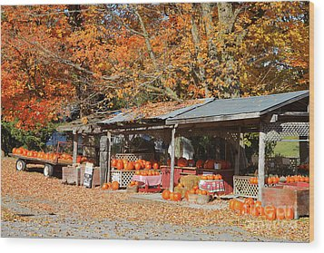 Pumpkins For Sale Wood Print by Louise Heusinkveld