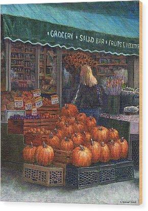 Pumpkins For Sale Wood Print by Susan Savad