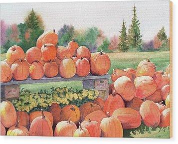 Pumpkins For Sale Wood Print by Vikki Bouffard