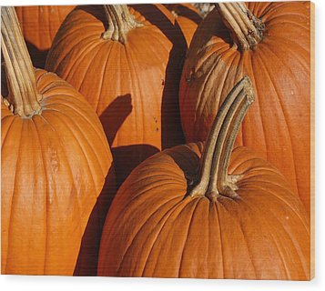Pumpkins Wood Print by Michael Thomas