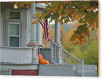 Pumpkins On A Vermont Porch Wood Print by Catherine Sherman