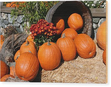 Wood Print featuring the mixed media Pumpkins- Photograph By Linda Woods by Linda Woods
