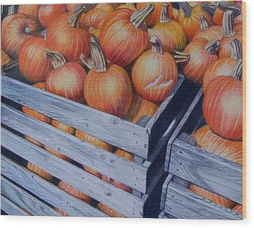 Wood Print featuring the painting Pumpkins Two by Constance Drescher