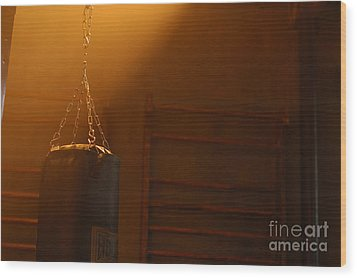 Punching Bag In The Light Wood Print by Micah May