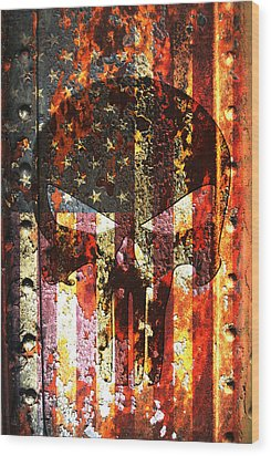 Punisher Skull On Rusted American Flag Wood Print