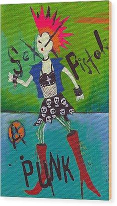 Punk Rocks Her Wood Print by Ricky Sencion