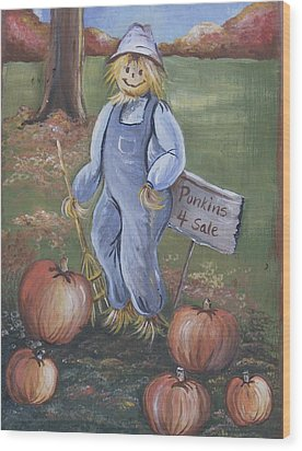 Wood Print featuring the painting Punkins For Sale by Leslie Manley