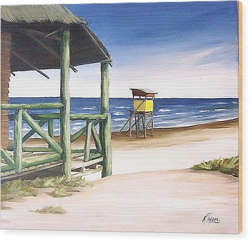 Wood Print featuring the painting Punta Del Diablo S Morning by Natalia Tejera