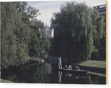 Punters Glide Past Trinity College Wood Print by Taylor S. Kennedy