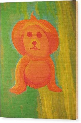 Pupmpkin Head Dog Wood Print by Laurette Escobar