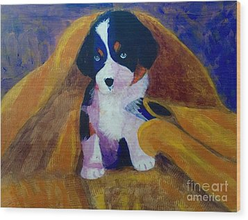 Wood Print featuring the painting Puppy Bath by Donald J Ryker III