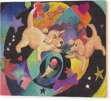 Puppy Dog Dream Wood Print