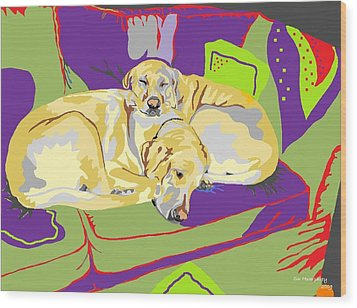 Puppy Pile Of Two Wood Print by Su Humphrey
