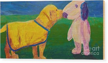 Wood Print featuring the painting Puppy Say Hi by Donald J Ryker III