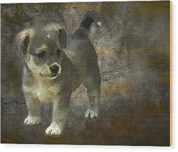 Puppy Wood Print by Svetlana Sewell