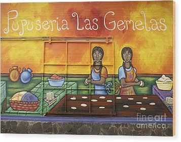 Pupusa Twins El Salvador Wood Print by John  Mitchell