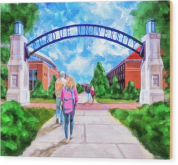 Wood Print featuring the mixed media Purdue University - Gateway To The Future Arch by Mark Tisdale