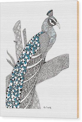 Purdy Peacock Wood Print by Paula Dickerhoff