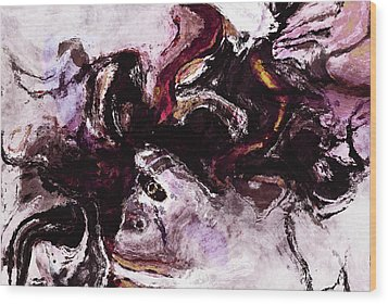 Wood Print featuring the painting Purple Abstract Painting / Surrealist Art by Ayse Deniz