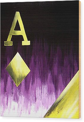 Purple Aces Poker Art2of4 Wood Print by Teo Alfonso