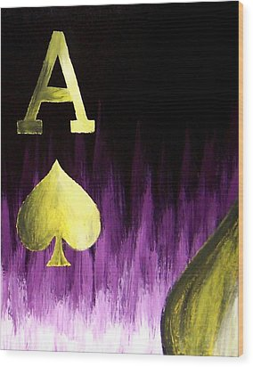 Purple Aces Poker Art4of4 Wood Print by Teo Alfonso