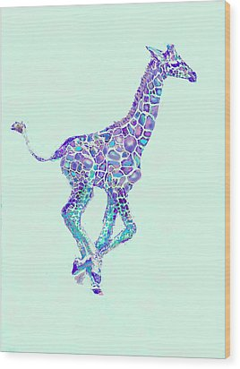 Purple And Aqua Running Baby Giraffe Wood Print by Jane Schnetlage
