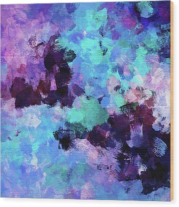 Wood Print featuring the painting Purple And Blue Abstract Art by Ayse Deniz