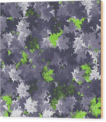 Wood Print featuring the digital art Purple And Green Leaves by Methune Hively