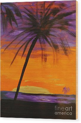 Purple And Orange Sky Wood Print by Marie Bulger