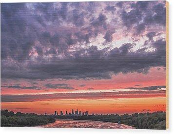 Purple And Red Sky Over Warsaw And Vistula River Wood Print by Julis Simo