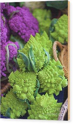 Purple And Romanesco Cauliflower Wood Print