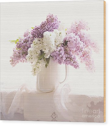 Wood Print featuring the photograph Purple And White Lilacs Still Life by Sylvia Cook