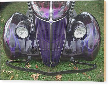 Purple Antique Ford Wood Print by Kathy M Krause