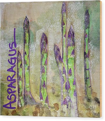Wood Print featuring the painting Purple Asparagus by Kim Nelson