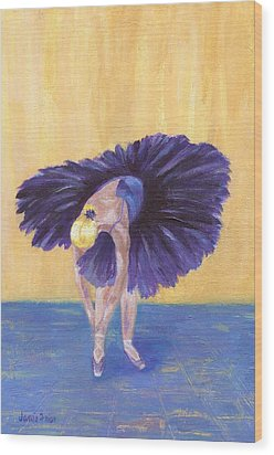 Wood Print featuring the painting Purple Ballerina by Jamie Frier