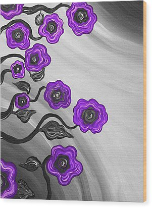 Purple Blooms Wood Print by Brenda Higginson