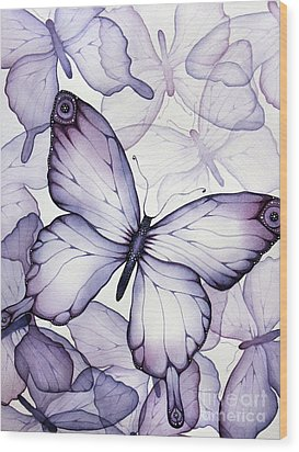 Purple Butterflies Wood Print by Christina Meeusen