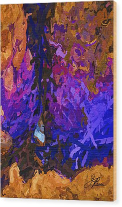Wood Print featuring the painting Purple Cave by Joan Reese