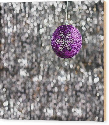 Wood Print featuring the photograph Purple Christmas Bauble  by Ulrich Schade
