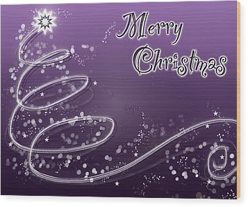 Purple Christmas Card Wood Print by Lisa Knechtel