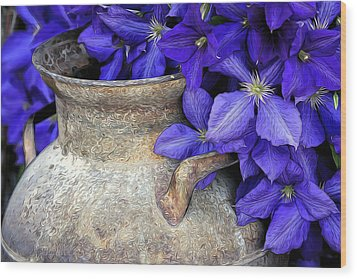 Purple Clematis And A Milk Can Wood Print