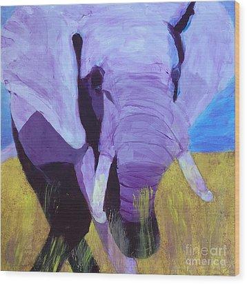 Purple Elephant Wood Print