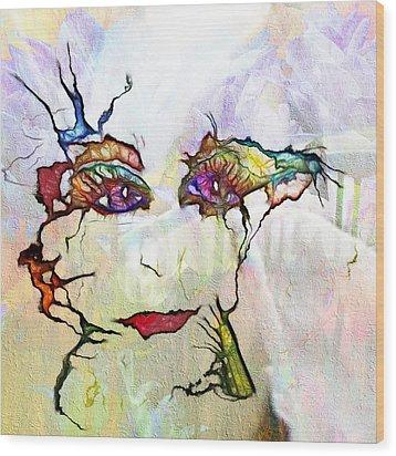 Purple Eyed Nymph Wood Print
