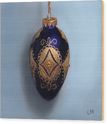 Purple Filigree Egg Ornament Wood Print