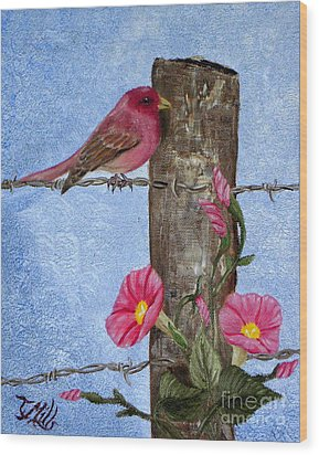 Purple Finch And Morning Glories Wood Print by Terri Mills